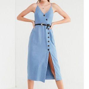 UO Blue Midi Button Down Linen Dress